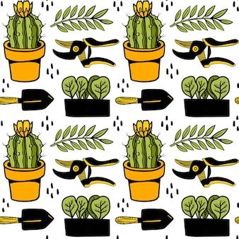 Nahtloses vektormuster mit kaktus topfpflanzen schaufel gartenschere pflanze stilvollen hintergrund