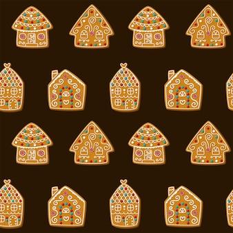 Nahtloses vektormuster mit niedlichen lebkuchenhäusern weihnachtsplätzchen auf einem braunen hintergrundvektor