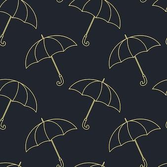 Nahtloses vektormuster mit regenschirmen auf dunklem hintergrund.