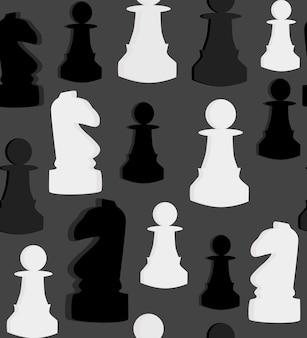 Nahtloses vektormuster mit schach auf grauem hintergrund. vektor-illustration