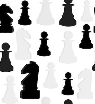 Nahtloses vektormuster mit schach auf weißem hintergrund. vektor-illustration
