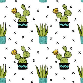 Nahtloses vektormuster mit sukkulenten kaktus aloe topfpflanzen nette kreuze hintergrund