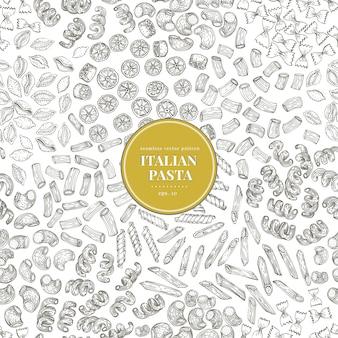 Nahtloses vektormuster mit verschiedenen arten von traditionellen italienischen teigwaren.
