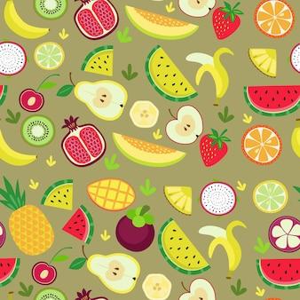 Nahtloses vektormuster mit verschiedenen früchten