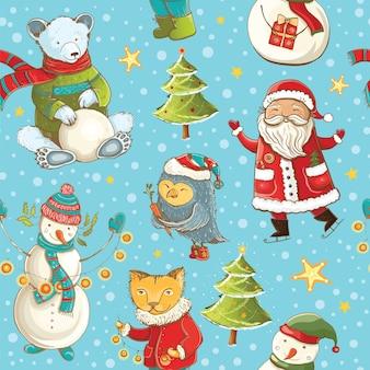 Nahtloses vektormuster mit weihnachtsmann, schneemann, weihnachtsbaum und niedlichen tieren. tileable karikaturweihnachtshintergrund.