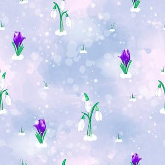 Nahtloses vektormuster mit weißen schneeglöckchen der frühlingsblumen und violetten krokussen