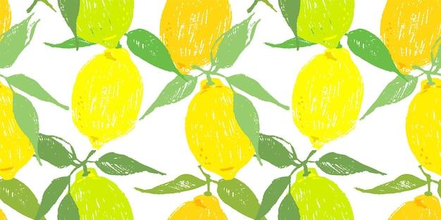 Nahtloses vektormuster mit zitronen. zitronenfrüchte und -blätter als wiederholbarer hintergrund. handgezeichnete zitrusfrüchte für den hintergrund.