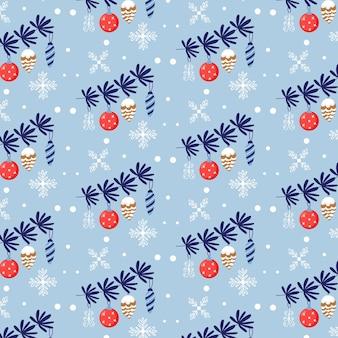 Nahtloses vektormuster von weihnachtsbaumast und weihnachtsspielzeug. weihnachtsgeschenk blauer hintergrund