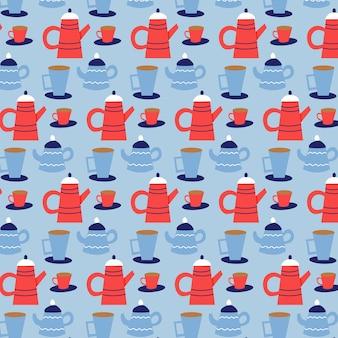 Nahtloses vektormuster von weihnachtsteekanne und -bechern. weihnachtsgeschenk blauer hintergrund