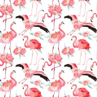Nahtloses vektorsommermuster des tropischen flamingos mit pfingstrosenblumen. blumen- und vogelhintergrund für tapeten, webseite, textur, textil, hintergrund