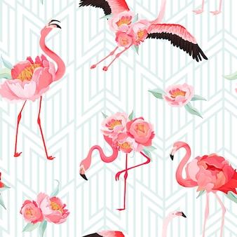 Nahtloses vektorsommermuster des tropischen flamingos mit pfingstrosenblumen und art-deco-hintergrund. blumen- und vogelgrafik für tapeten, webseiten, texturen, textilien, kulissen