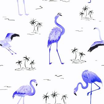 Nahtloses vektorsommermuster des tropischen flamingos mit tropischen palmen. vogelhintergrund für tapeten, webseite, textur, textil.