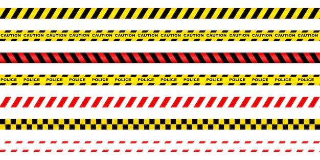 Nahtloses verbotsband rot-weiß, rot-schwarz, gelb-schwarz.