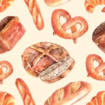 Nahtloses verpackungs-papiermuster des bäckereibrotes mit rundem vollweizenlaib und brezel