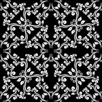 Nahtloses vintage barockmuster. dekor aus weißen blättern auf schwarzem hintergrund