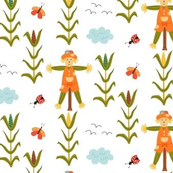 Nahtloses vogelscheuchen-mais-muster. sich wiederholender hintergrund mit rustikalem motiv. vektor-hand zeichnen papier, kinderzimmer-design-tapete