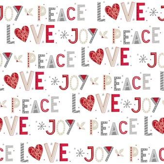 Nahtloses weihnachten mit freude, frieden und liebe nahtloses muster