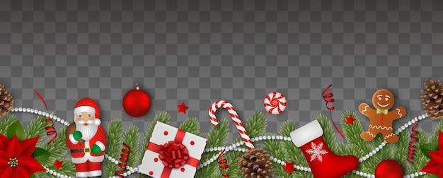 Nahtloses weihnachtsbanner mit dekorationen und tannenzweigen