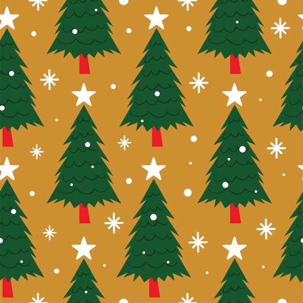 Nahtloses weihnachtsbaummuster mit stern auf gelbem hintergrund