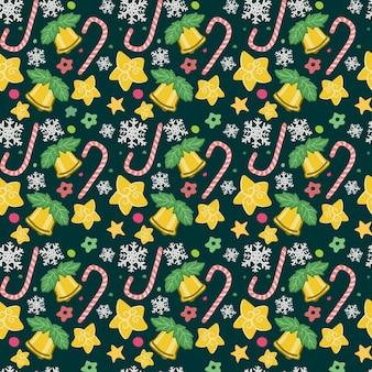 Nahtloses weihnachtsgoldenes bell-süßigkeits-muster