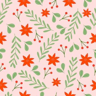 Nahtloses weihnachtsmuster auf rosa hintergrund mit weihnachtssternblumen, tannenzweigen und beeren. hintergrund