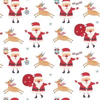 Nahtloses weihnachtsmuster auf weißem hintergrund mit weihnachtsmann.
