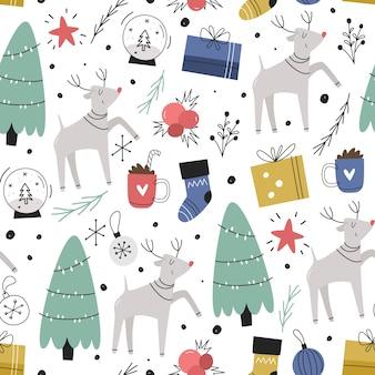 Nahtloses weihnachtsmuster. handgezeichnet einfach.