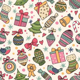 Nahtloses weihnachtsmuster. kann für desktop-hintergrundbilder oder rahmen für wandbehänge oder poster, oberflächenstrukturen, webseitenhintergründe, textilien und mehr verwendet werden.