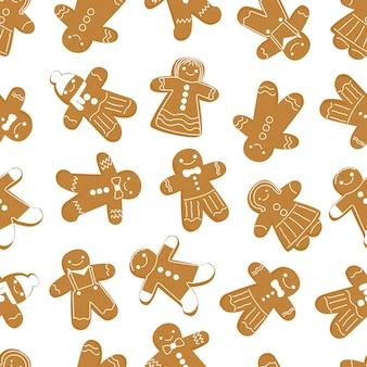 Nahtloses weihnachtsmuster lebkuchenmann cookies neujahr traditioneller pfeffriger brauner lebkuchen
