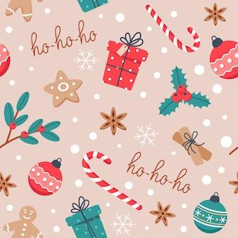 Nahtloses weihnachtsmuster mit backen, lebkuchenplätzchen und neujahrsbonbons