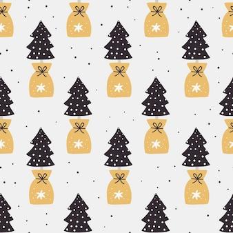 Nahtloses weihnachtsmuster mit bäumen.