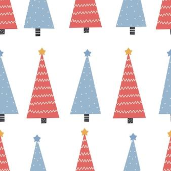 Nahtloses weihnachtsmuster mit baum weihnachtsschmuck mit roter und blauer farbe digitales papier