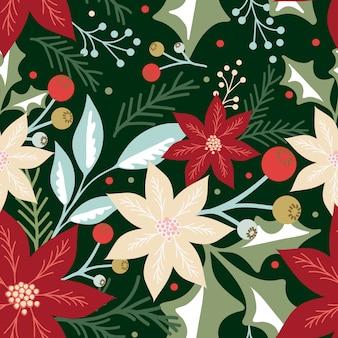 Nahtloses weihnachtsmuster mit blatt, beeren und poinsettia