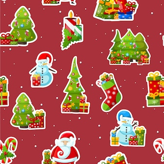 Nahtloses weihnachtsmuster mit bunten wintersymbolen auf rot