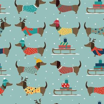 Nahtloses weihnachtsmuster mit dackeln, schlitten und schneeflocken.