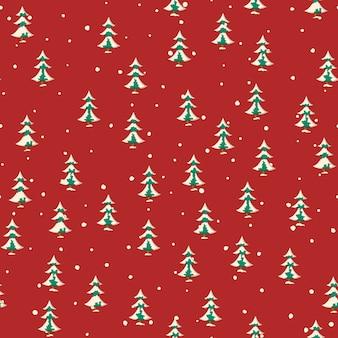 Nahtloses weihnachtsmuster mit ebene färbte schneebedeckte tannenbäume