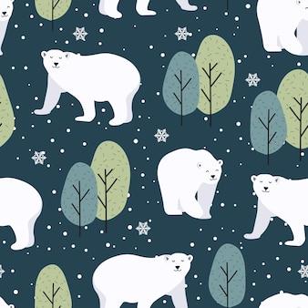 Nahtloses weihnachtsmuster mit eisbärenhintergrund