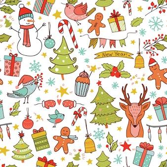 Nahtloses weihnachtsmuster mit feiertagsdekoration und rentier.