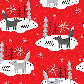 Nahtloses weihnachtsmuster mit fuchs- und baumdesign auf rotem hintergrund