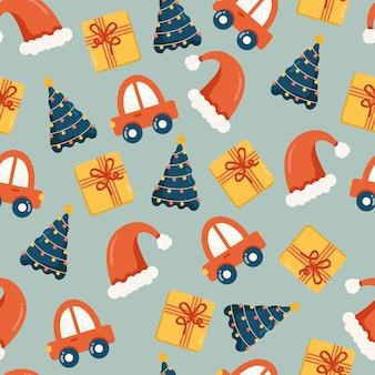 Nahtloses weihnachtsmuster mit geschenkboxen autos weihnachtsmann-hüte und weihnachtsbäume