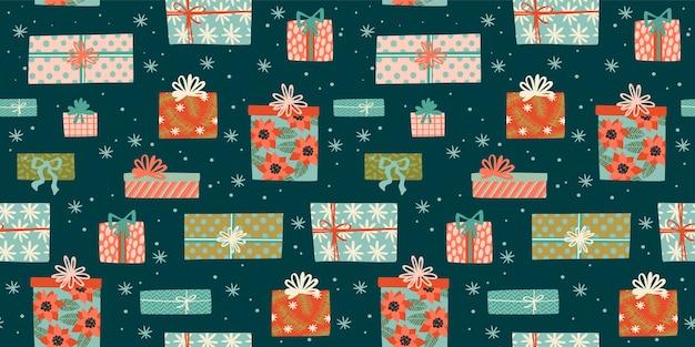 Nahtloses weihnachtsmuster mit geschenkboxen. trendiger retro-stil.