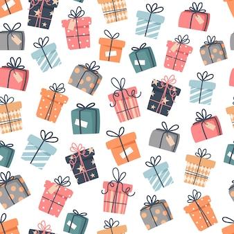 Nahtloses weihnachtsmuster mit geschenken im flachen stil