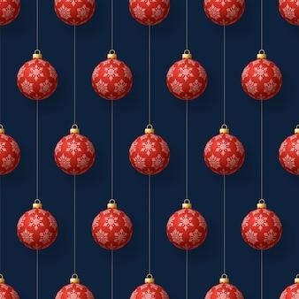 Nahtloses weihnachtsmuster mit glänzenden kugeln, die hängen