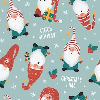 Nahtloses weihnachtsmuster mit gnomen. illustration für weihnachtseinladungen, t-shirts und scrapbooking
