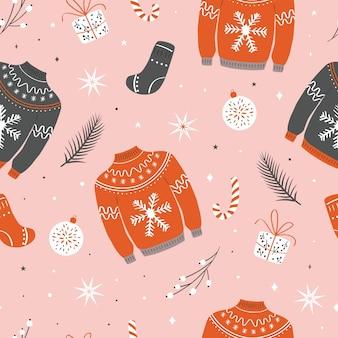 Nahtloses weihnachtsmuster mit hässlichem pullover.