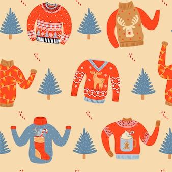 Nahtloses weihnachtsmuster mit hässlichen strickjacken.