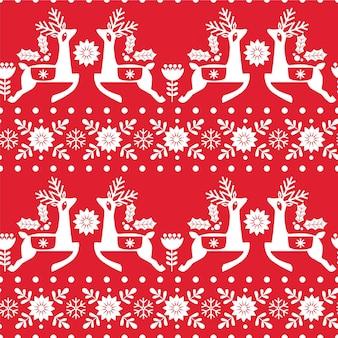 Nahtloses weihnachtsmuster mit hirsch, schneeflocken und blumen