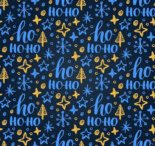 Nahtloses weihnachtsmuster mit ho ho-ho-schriftzug und neujahrskreidezeichnung.