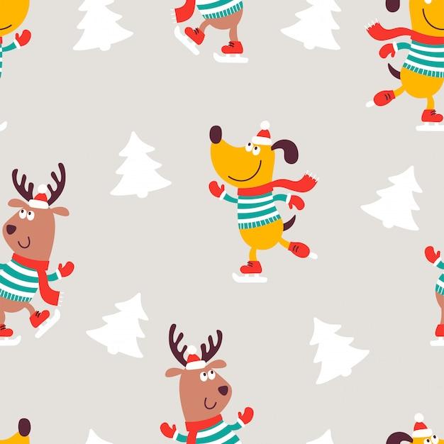 Nahtloses weihnachtsmuster mit hund und hirsch