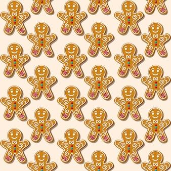 Nahtloses weihnachtsmuster mit keks-lebkuchenmann.